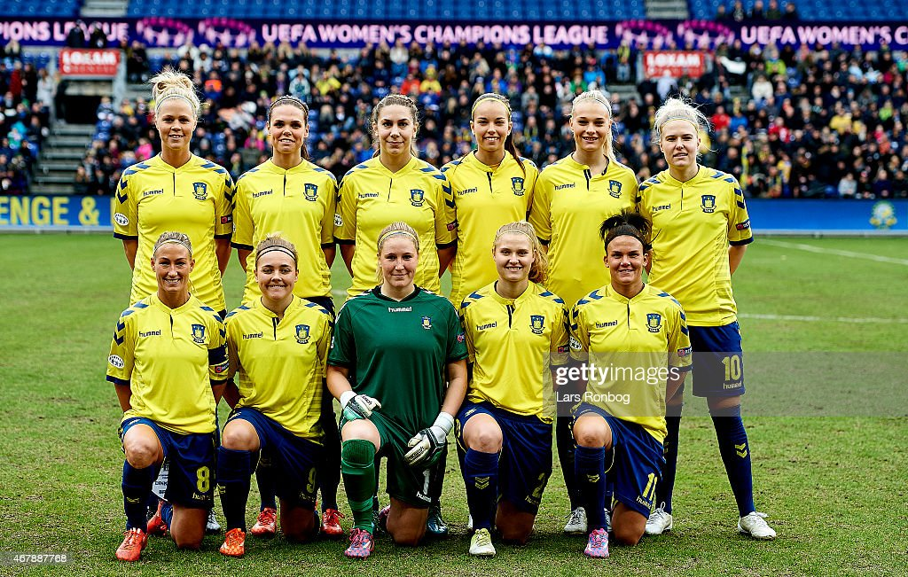 The players of Brondby IF pose for a team photo prior to ...