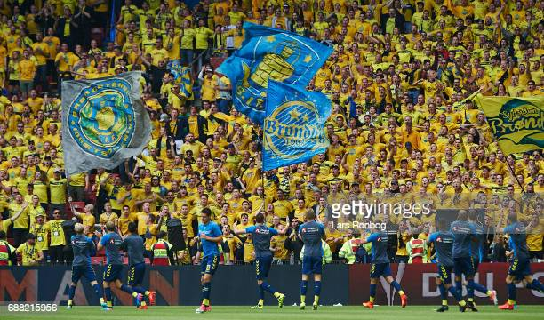 The players of Brondby IF warming up in front of the fans prior to the Danish Cup Final DBU Pokalen match between FC Copenhagen and Brondby IF at...