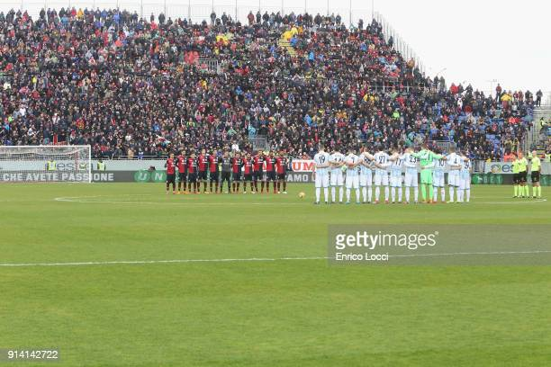 the players of Cagliari and Spal during the serie A match between Cagliari Calcio and Spal at Stadio Sant'Elia on February 4 2018 in Cagliari Italy