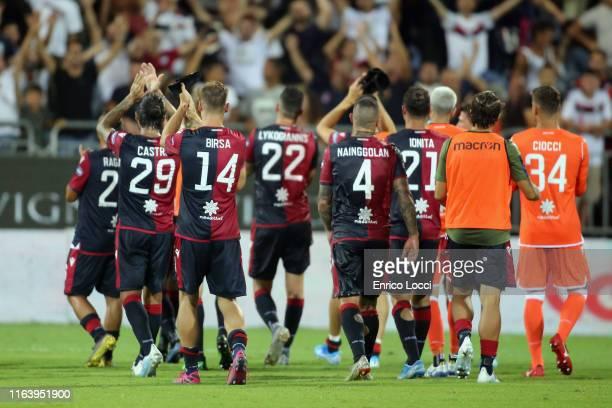 The players of Cagliari at the end of the Serie A match between Cagliari Calcio and Brescia Calcio at Sardegna Arena on August 25 2019 in Cagliari...