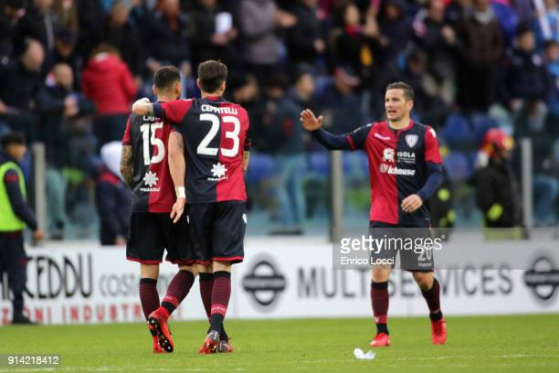 The players of Cagliari celebrate a victory at the end of the serie A match between Cagliari Calcio and Spal at Stadio Sant'Elia on February 4 2018...