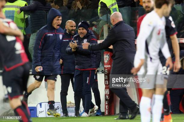 the players of Cagliari celebrates a victory during the Serie A match between Cagliari and ACF Fiorentina at Sardegna Arena on March 15 2019 in...