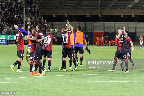 the players of Cagliari celerates a victory at the end o the Serie A match between Cagliari Calcio and UC Sampdoria at Stadio Sant'Elia on September...
