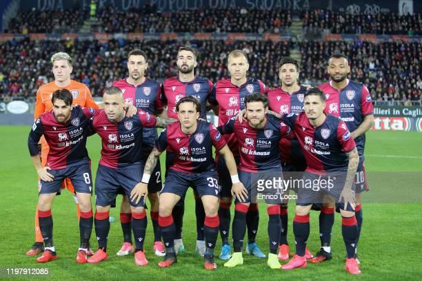 the players of Cagliari during the Serie A match between Cagliari Calcio and Parma Calcio at Sardegna Arena on February 1 2020 in Cagliari Italy