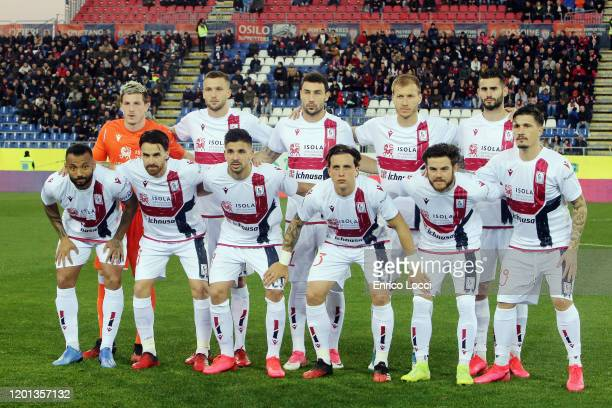 the players of Cagliari during the Serie A match between Cagliari Calcio and SSC Napoli at Sardegna Arena on February 16 2020 in Cagliari Italy