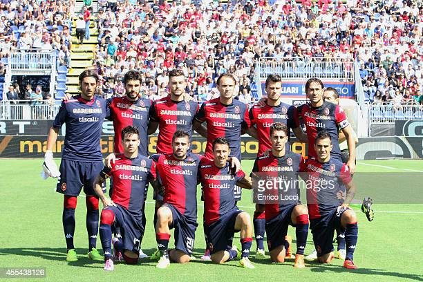 The players of Cagliari during the Serie A match between Cagliari Calcio and Atalanta BC at Stadio Sant'Elia on September 14 2014 in Cagliari Italy