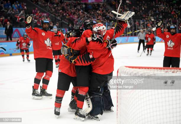 The players of Canada celebrate winning the Men's 6-Team Ice Hockey Tournament Finals Bronze Medal Game between Canada and Finland on day 13 of the...