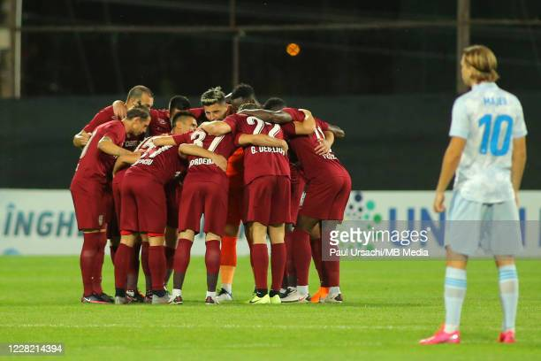 The players of CFR Cluj prior to the UEFA Champions League Second Qualifying Round game between CFR Cluj and Dinamo Zagreb at Constantin Radulescu...