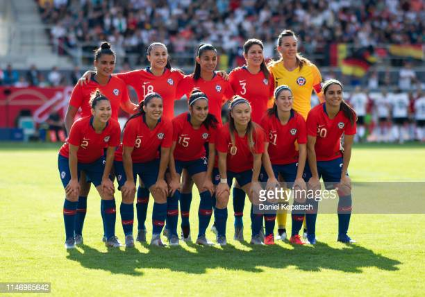 The players of Chile pose prior to the international friendly match between Germany Women and Chile Women at Continental Arena on May 30 2019 in...