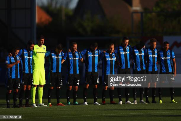 The players of Club Brugge KV stand for one minute silence prior to the Jupiler Pro League match between Royal Excel Mouscron and Club Brugge at...