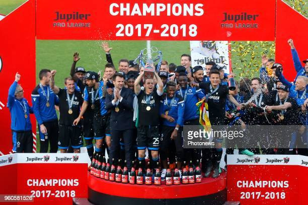 The players of Club Brugge receiving the Pro League Cup 2018 and celebrating winning the Jupiler Pro League title 2017 2018 for the 15th time in the...