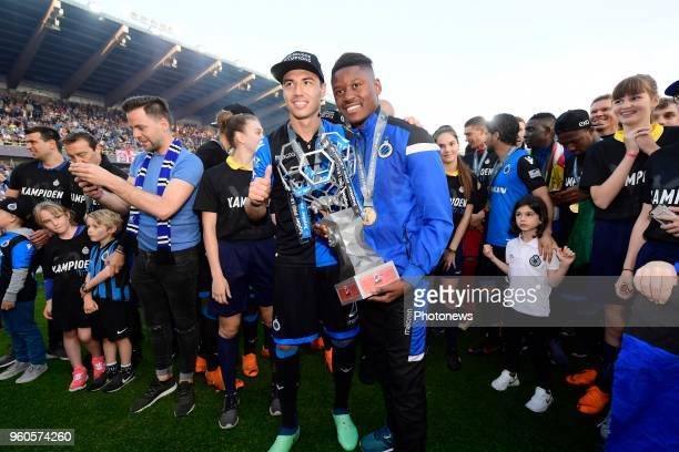 The players of Club Brugge with Anthony Limbombe forward of Club Brugge and Dion Cools defender of Club Brugge receiving the Pro League Cup 2018 and...