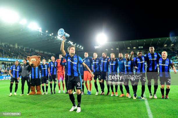 The players of Club Brugge with Jelle Vossen forward of Club Brugge greeting the supporters after the victory during the Jupiler Pro League match...