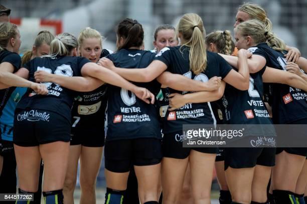 The players of Copenhagen Handball celebrate after the Danish HTH Go Ligaen match between Copenhagen Handball and Silkeborg Voel in...