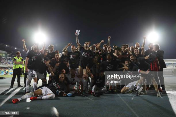 The players of Cosenza Calcio celebrate the victory of the Lega Pro 17/18 Playoff final match between Robur Siena and Cosenza Calcio at Stadio...