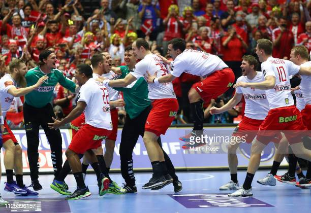 The players of Denmark celebrate winning the 26th IHF Men's World Championship final between Norway and Denmark at Jyske Bank Boxen Arena on January...