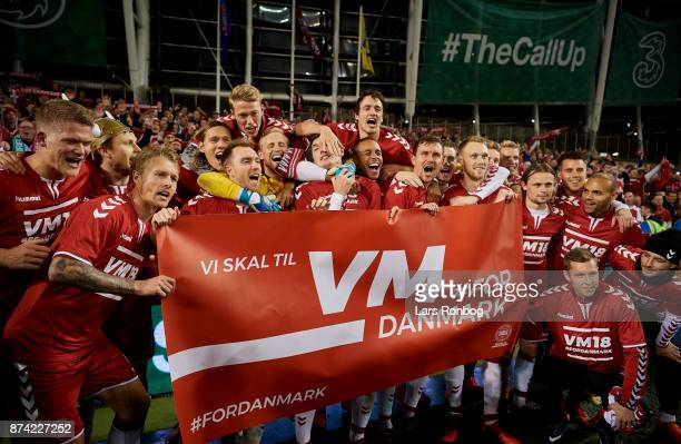 The players of Denmark celebrating after the FIFA 2018 World Cup Qualifier PlayOff Second Leg match between Republic of Ireland and Denmark at Aviva...