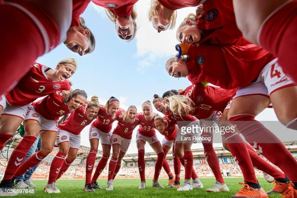 The players of Denmark huddle prior to the FIFA Women's World Cup qualifier match between Denmark and Sweden at Viborg Stadion on September 4 2018 in...