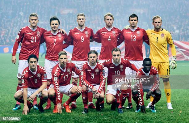 The players of Denmark pose for a group picture Andreas Cornelius William Kvist Nicolai Jorgensen Simon Kjar Andreas Bjelland Kasper Schmeichel...