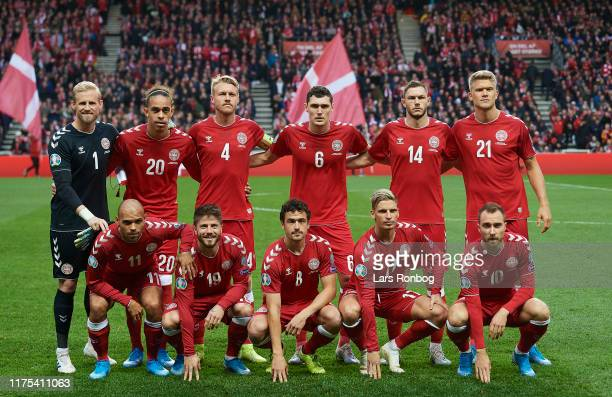 The players of Denmark pose for a group picture prior to the UEFA EURO 2020 Qual. Group D match between Denmark and Switzerland at Telia Parken on...
