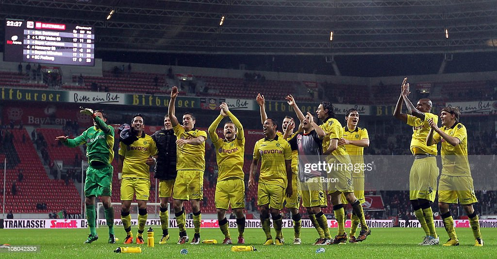The players of Dortmund celebrate after winning the Bundesliga match between Bayer Leverkusen and Borussia Dortmund at BayArena on January 14, 2011 in Leverkusen, Germany.