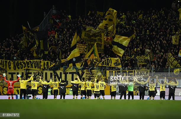 The players of Dortmund celebrate with the fans after the Bundesliga match between SV Darmstadt 98 and Borussia Dortmund at MerckStadion am...