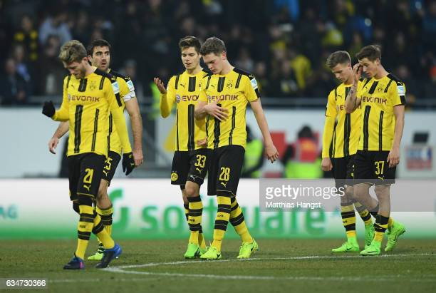 The players of Dortmund show their disappointment after the Bundesliga match between SV Darmstadt 98 and Borussia Dortmund at Stadion am...