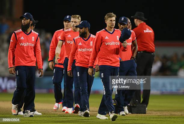 The players of England look dejected after the NatWest International T20 match between England and Pakistan at Old Trafford on September 7 2016 in...