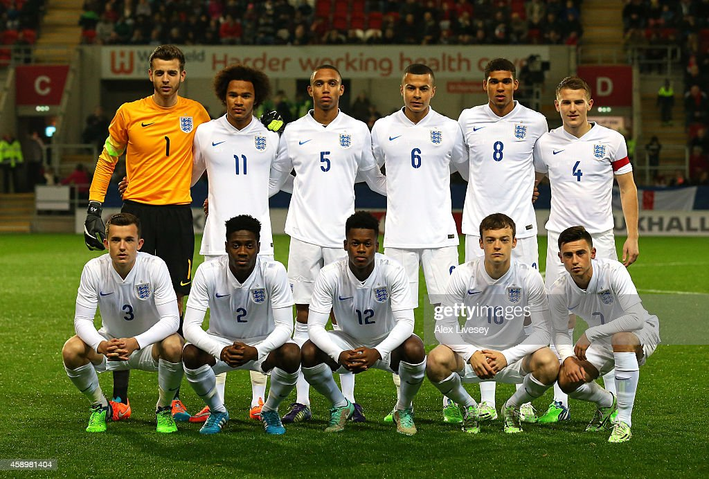 The players of England U19 line up before the International friendly match between England U19 and Italy U19 at The New York Stadium on November 14, 2014 in Rotherham, England.