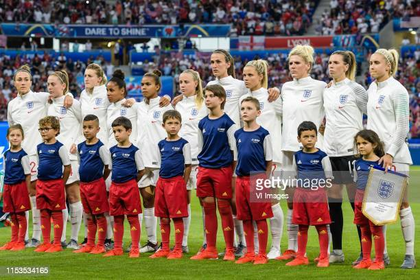 The players of England women at the line up Lucy Bronze of England women, Keira Walsh of England women, Ellen White of England women, Demi Stokes of...