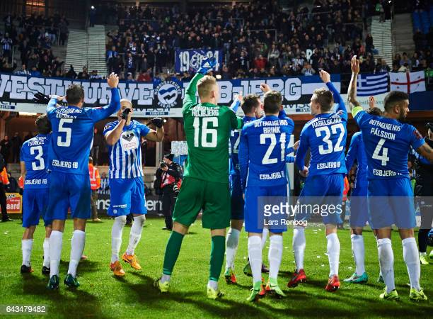 The players of Esbjerg fB celebrate with the fans after the Danish Alka Superliga match between Esbjerg fB and Sonderjyske at Blue Water Arena on...