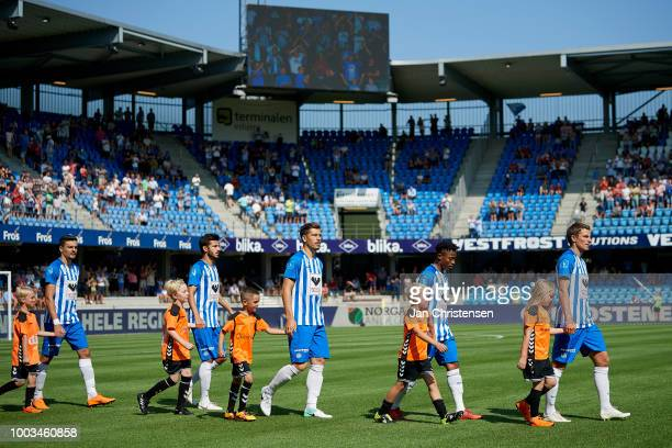 The players of Esbjerg fB walk on to the pitch prior to the Danish Superliga match between Esbjerg fB and Vendsyssel FF at Blue Water Arena on July...