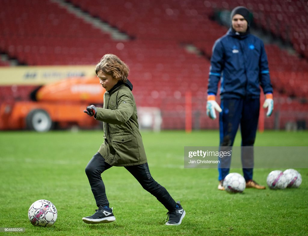 The players of FC Copenhagen and fans after the traing session at Telia Parken Stadium on January 13, 2018 in Copenhagen, Denmark.