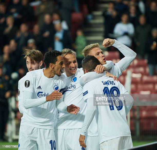 The players of FC Copenhagen celebrate after the 10 goal scored by Michael Santos during the UEFA Europa League match between FC Copenhagen and FC...