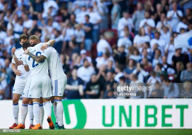 The players of FC Copenhagen celebrate after the 10 goal scored by Federico Santander of FC Copenhagen during the Danish Alka Superliga Europa League...