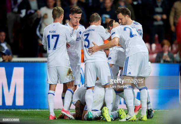 The players of FC Copenhagen celebrate after the 10 goal scores by Federico Santander of FC Copenhagen during the UEFA Champions League Playoff 2nd...