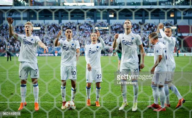 The players of FC Copenhagen celebrate after the Danish Alka Superliga Europa League Playoff match between FC Copenhagen and AGF Aarhus at Telia...
