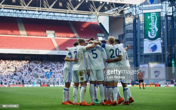 The players of FC Copenhagen celebrate after the second goal scored by Erik Johansson of FC Copenhagen during the Danish Alka Superliga Europa League...
