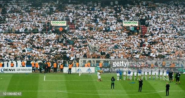 The players of FC Copenhagen celebrate with the fans after the Danish Superliga match between FC Copenhagen and Brondby IF at Telia Parken Stadium on...