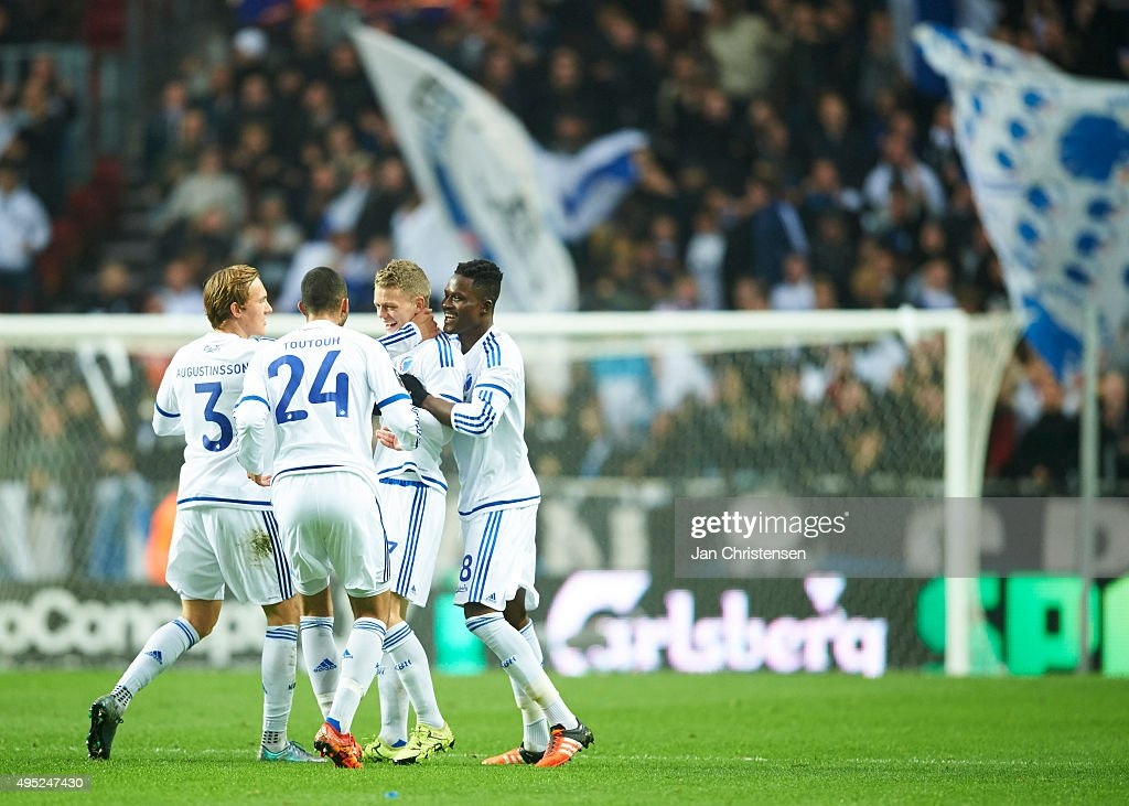 The players of FC Copenhagen celebrating after the 1-0 goal from Kasper Kusk during the Danish Alka Superliga match between FC Copenhagen and Randers FC at Telia Parken Stadium on November 01, 2015 in Copenhagen, Denmark.