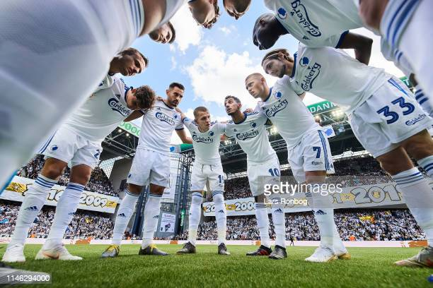 The players of FC Copenhagen huddle prior to the Danish Superliga match between FC Copenhagen and FC Nordsjalland at Telia Parken on May 125 2019 in...