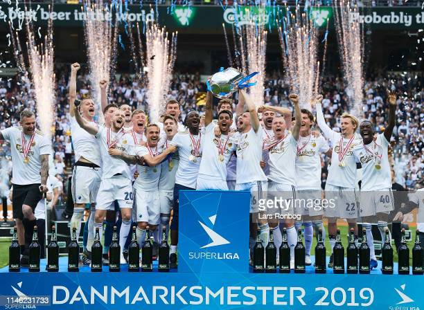 The players of FC Copenhagen lifting the trophy as Danish Champions after the Danish Superliga match between FC Copenhagen and FC Nordsjalland at...