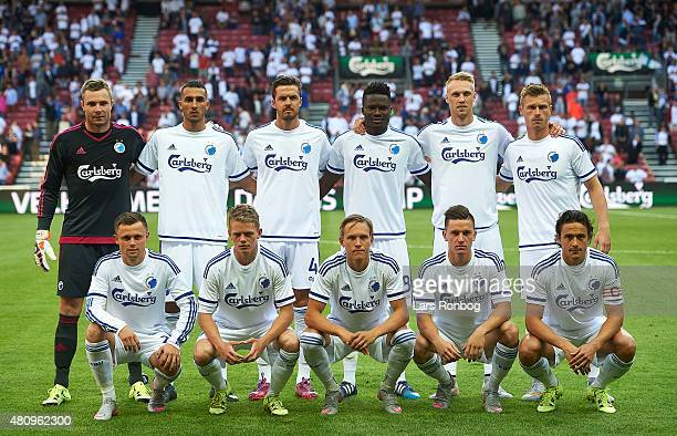 The players of FC Copenhagen pose for a group photo prior to the UEFA Europa League Qualification 2nd round 1st Leg match between FC Copenhagen and...