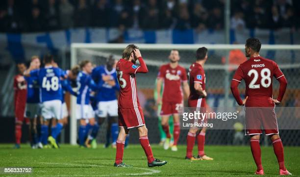 The players of FC Copenhagen shows frustration after the 31 goal scores by Mayron George of Lyngby BK during the Danish Alka Superliga match between...