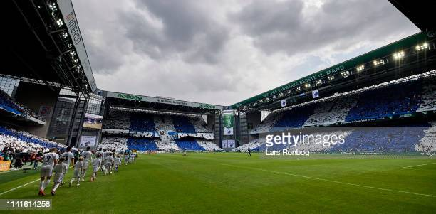 The players of FC Copenhagen walks on to the pitch prior to the Danish Superliga match between FC Copenhagen and Brondby IF at Telia Parken Stadium...