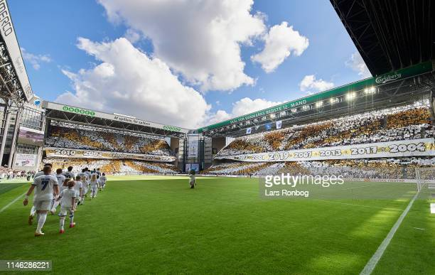 The players of FC Copenhagen walks on to the pitch prior to the Danish Superliga match between FC Copenhagen and FC Nordsjalland at Telia Parken on...