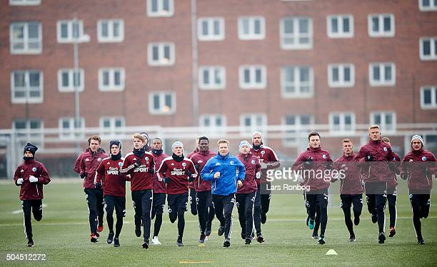 The players of FC Copenhagen warming up during the FC Copenhagen first training session at KB's baner on January 11 2016 in Frederiksberg Denmark