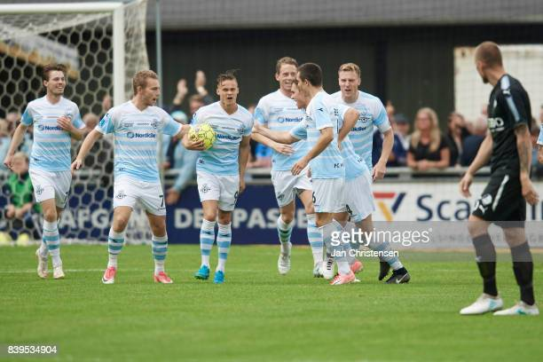 The players of FC Helsingor celebrate after the 10 goal from André Riel of FC Helsingor during the Danish Alka Superliga match between FC Helsingor...