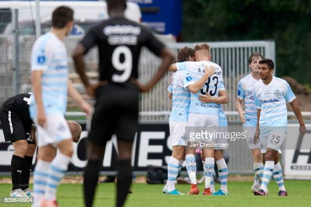 The players of FC Helsingor celebrate the 20 goal from André Riel of FC Helsingor during the Danish Alka Superliga match between FC Helsingor and...
