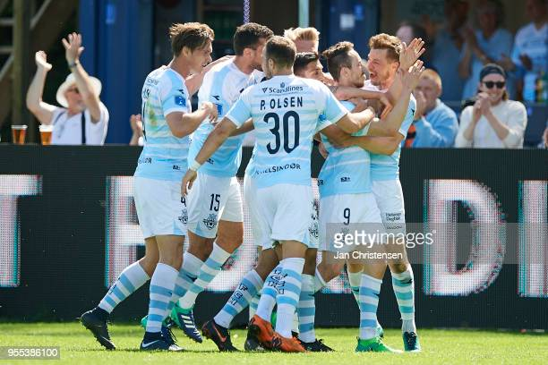 The players of FC Helsingor celebrating the 10 goal from Matheus Leiria during the Danish Alka Superliga match between FC Helsingor and Randers FC at...
